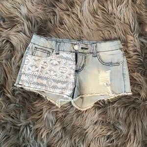 💕 BOGO 💕Lace Covered Denim Shorts